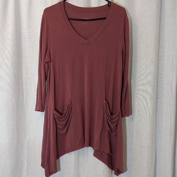 LOGO by Lori Goldstein Dusty Rose Tunic Size M